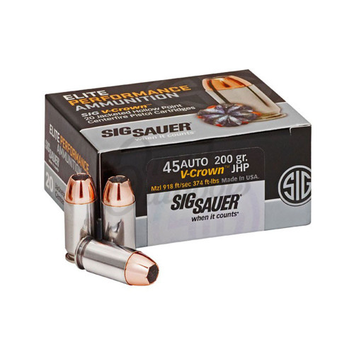 Sig Sauer E45AP120 Elite V-Crown 45 ACP 200 gr Jacketed Hollow Point (JHP) 20rds