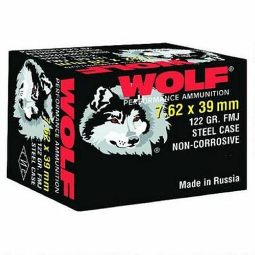 RUSSIAN Wolf By Tulammo 7.62x39 Ammunition 122 Grain Bi-Metal FMJ Steel Case HALF CASE - 500rds