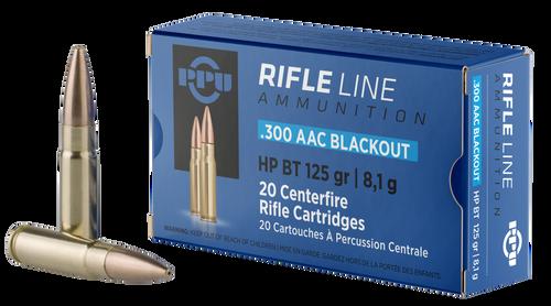 PPU 300 AAC Blackout 125 GR HPBT Brass Case Hollow Point - 20rds
