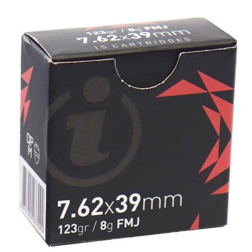 Igman 7.62x39mm Ammo 123gr Full Metal Jacket Brass Cased - 15rds