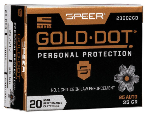 Speer Ammo 23602GD Gold Dot Personal Protection 25 ACP 35 gr Hollow Point (HP) 20RDS