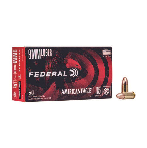 Federal AE9DP American Eagle 9mm Luger 115 gr Full Metal Jacket (FMJ) 50rds