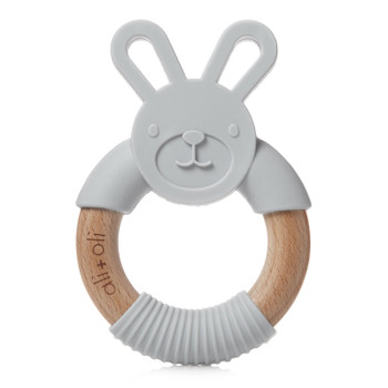 Ali+Oli Modern Bunny Teether Toy for Baby (Soft Grey) BPA Free Silicone & Natural Beechwood