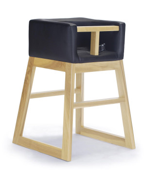 Tavo High Chair by Monte Design Black Enviro Leather Body with Clear Maple Wood Base