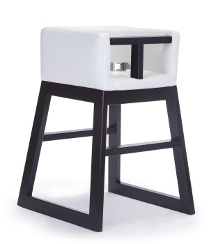 Monte Design Tavo High Chair - White Enviro Leather Body - Espresso Wood Base