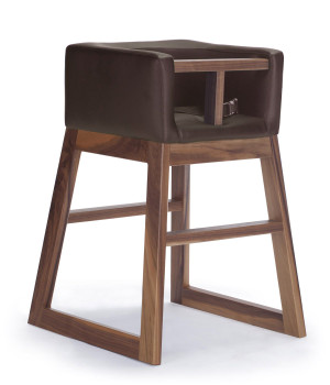 Tavo High Chair by Monte Design (Brown Bonded Leather Body with Walnut Wood Base)