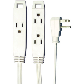 AXIS 45505 3-Outlet Wall-Hugger Indoor Grounded Extension Cord, 8ft White