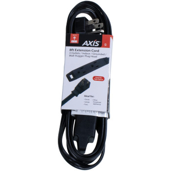 Axis 45515 3-Outlet Black Wall-Hugger Indoor Grounded Extension Cord, 8ft