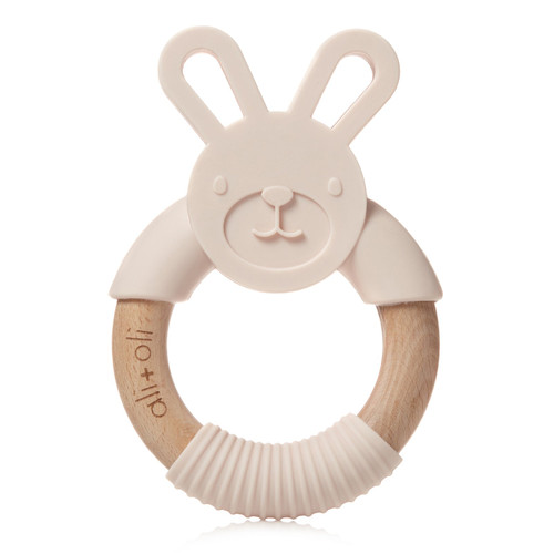 Ali+Oli Modern Bunny Teether Toy for Baby (Blush Pink) BPA Free Silicone & Natural Beechwood