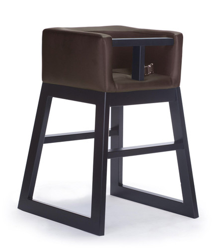 Tavo High Chair by Monte Design (Brown Bonded Leather Body with Espresso Wood Base)