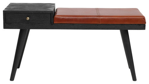 Bloomingville Mango Wood Table / Bench Combo with Drawer & Leather Cushion