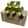 2 Inch X 30 Ft Yellow Ratchet Strap With Flat Hooks (10,000 Lbs) / 573020Y-12  Box of 10 heavy-duty standard 2 inch x 30 foot yellow 10,000 lb ratchet straps with black heavy-duty flat hooks. Our high-quality, industry-standard yellow ratchet straps are built to last and keep your cargo secured.