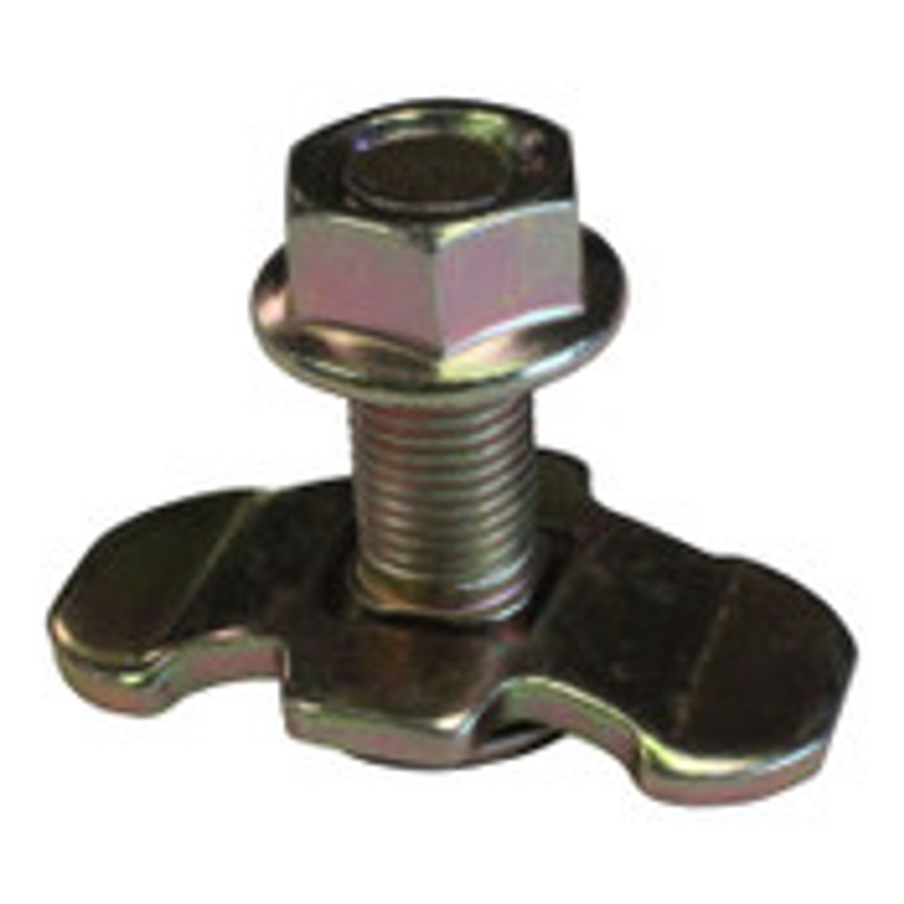 This L Track threaded stud fitting is used as a bolt-on anchoring point for L Track. Carbon Steele AISI 1045-1050 with a zinc plating finish ASTMB633 type 2.