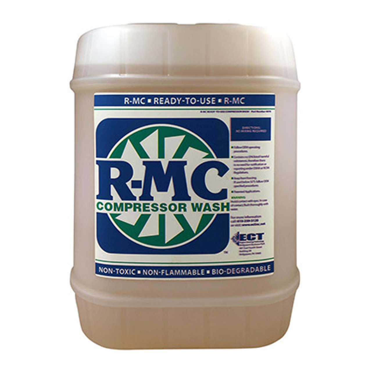 R-MC 4072-05 Concentrate Turbine Engine Compressor Wash - 5 Gallon Pail Part#: 4072-05by ECT Inc. ECT R-MC Series engine cleaner concentrate (6:1) has a 7.5 to 8.5 pH level that ensures better cleaning of the surfaces without deteriorating the finish. With 23.7 millimeters Hg vapor pressure, this slight sweet odored cleaner has a specific gravity of 1.03 at 20 degrees C and a boiling point of 215 degrees F. This biodegradable liquid cleaner is yellow in color and comes in a 5-gallon pail.