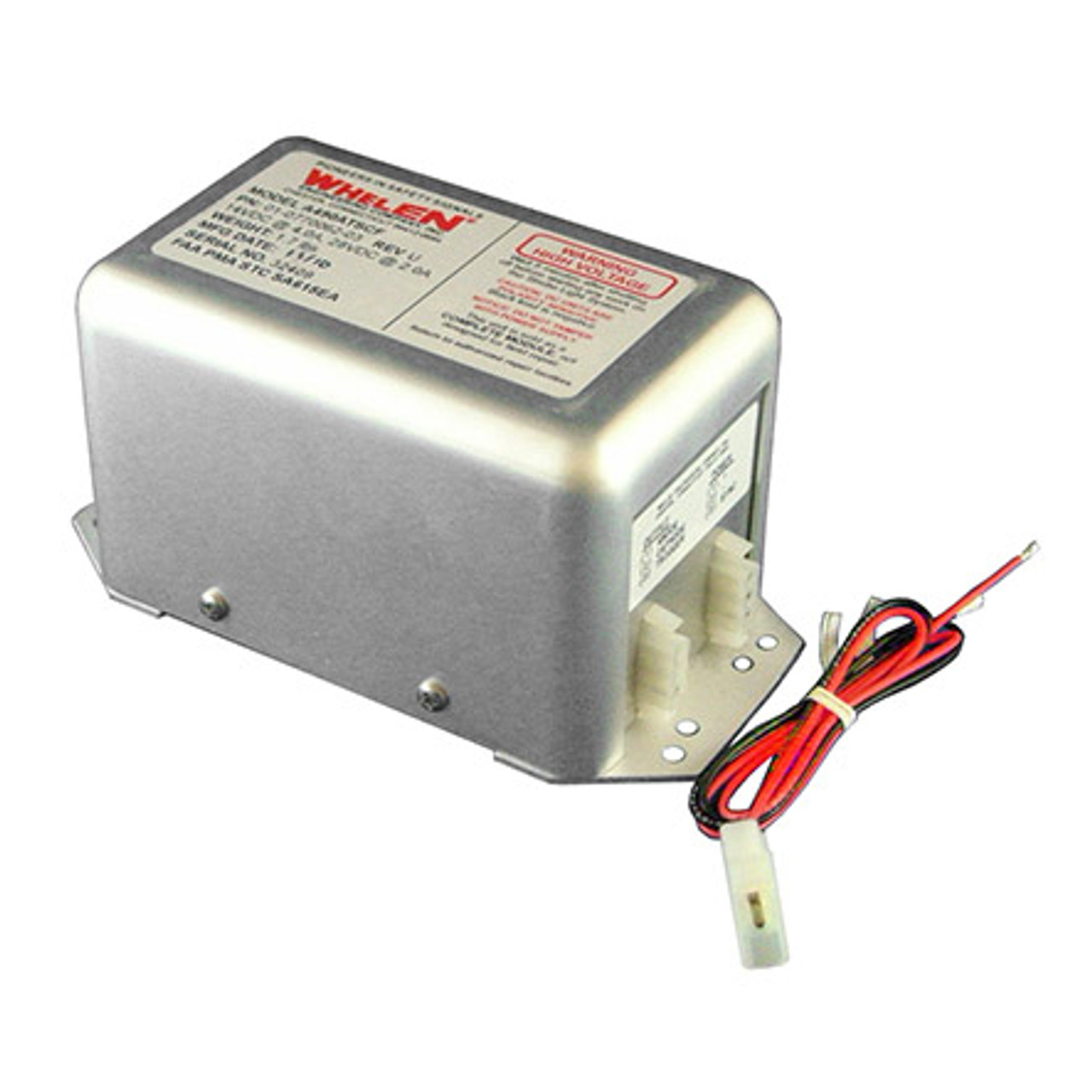 Whelen 01-0770028-05 Model HDACF Strobe Power Supply - Part#: 01-0770028-05by Whelen The model HDACF series provides simultaneous flashing, alternate flashing or both. It will operate one, two or three strobe lightheads. Operating the wing tip strobes in the alternating mode will provide an accumulated 42 joules of power to each light. When in the simultaneous mode, the accumulated power to each light is 21 joules. In the three light mode, the wing tips will flash simultaneous at an accumulated 21 joules each, they alternate with a third light operating at an accumulated 42 joules. On the trigger selector outlet, a switch mounted in place of the jumper will allow wing tip outlets 2 & 3 to be turned off, while the tail outlet 1 will remain on. This function is commonly used when the third light is for ground operations. This power supply will operate from 10 to 30 VDC.