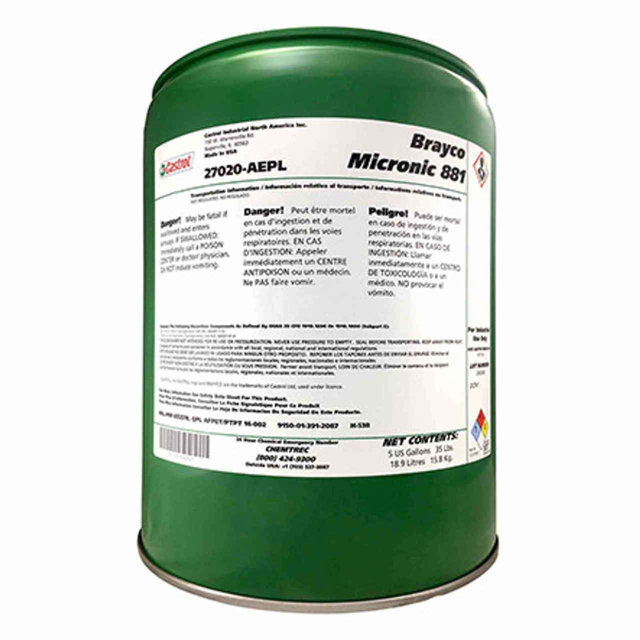 Castrol® Brayco™ Micronic 882 Red MIL-PRF-83282D (1) Spec Full Synthetic ISO 15 Hydraulic Fluid - 5 Gallon Steel Pail Part#: 1501A7by Castrol® Brayco™ Castrol® Brayco™ Micronic 882 Red MIL-PRF-83282D (1) Spec Full Synthetic ISO 15 Hydraulic Fluid - 5 Gallon Steel Pail