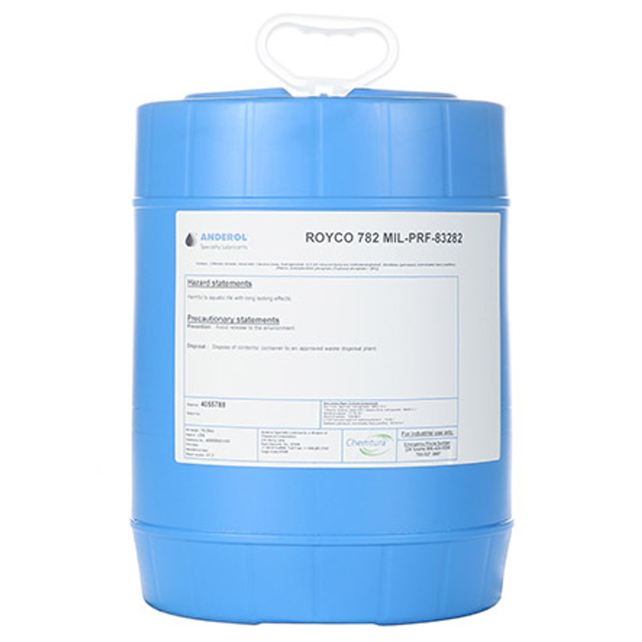 "ROYCO® 782 Red MIL-PRF-83282D Spec Synthetic Fire Resistant Aircraft Hydraulic Fluid - 5 Gallon Steel Pail - Part#: 4055788by ROYCO®  ROYCO 782 is a red – colored ""Super Clean"", synthetic hydraulic fluid developed to meet the severe duty demands of today's military and industrial equipment. Modern additive technology is employed for oxidative stability, corrosion inhibition, and antiwear protection. ROYCO 782 is compatible with petroleum-based fluids and all components used in mineral oil type hydraulic systems. ROYCO 782 is intended for use in severe duty applications requiring both low and high temperature operation, extended time periods between service intervals, excellent shear stability, water demulsibility, and the safety factor afforded by the use of a synthetic fluid. ROYCO 782 is recommended for use in aircraft, missile, and ordnance systems using synthetic sealing materials as well as in heavy-duty construction equipment, and industrial robotic hydraulic systems. ROYCO 782 is suitable for use in applications operating at temperatures from -40°C to 205°C. This product is especially recommended for use where the high flash point provides added safety margins.  Approvals/References/Specs  NATO Specification: H-537 US Military Specification: MIL-PRF-83282D Amend 1 US Military Specification: MIL-H-83282"