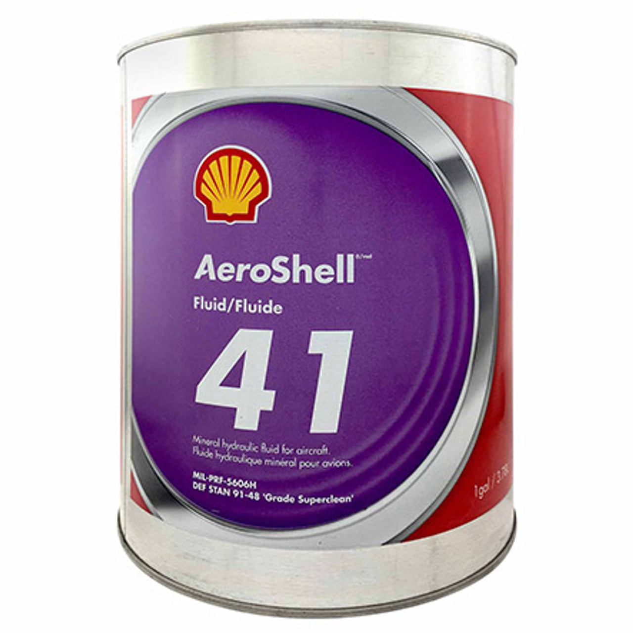 """AeroShell™ Fluid 41 Mineral Aircraft Hydraulic Fluid - Gallon Can - Part#: 550043667by AeroShell™ AeroShell Fluid 41 is a mineral hydraulic oil manufactured to a very high level of cleanliness, and possesses improved fluid properties. AeroShell Fluid 41 contains additives which provide excellent low temperature fluidity as well as exceptional anti-wear, oxidation - corrosion inhibition and shear stability. In addition metal de-activators and foam inhibitors are included in this high viscosity index fluid to enhance performance in hydraulic applications. AeroShell Fluid 41 is capable of wide temperature range operation. AeroShell Fluid 41 is dyed red.  AeroShell Fluid 41 is intended as a hydraulic fluid in all modern aircraft applications requiring a mineral hydraulic fluid. AeroShell Fluid 41 is particularly recommended where use of a """"superclean"""" fluid can contribute to improvements in component reliability, and can be used in aircraft systems operating unpressurised between –54°C to 90°C and pressurised between –54°C to 135°C.  AeroShell Fluid 41 should be used in systems with synthetic rubber components and must not be used in systems incorporating natural rubber. Refer to the General Notes at the front of this section for further information.  AeroShell Fluid 41 is compatible with AeroShell Fluids 4, 31, 51, 61 and 71 and SSF/LGF.  Chlorinated solvents should not be used for cleaning hydraulic components which use AeroShell Fluid 41. The residual solvent contaminates the hydraulic fluid and may lead to corrosion.  Approvals/References/Specification  British Specification: approved DEF STAN 91-48 Grade Superclean French Specification: approved DCSEA 415/A Joint Service Designation Specification: OM-15 (equivalent OM-18) NATO Specification: H-515 (equivalent H-520) Russian Specification: analogue to AMG-10 US Military Specification: MIL-PRF-5606H DEF STAN - British Spec#: DEF STAN 91-48 Grade Superclean JSSG / JSD Spec#: OM-15 NATO Stock #: H-515"""