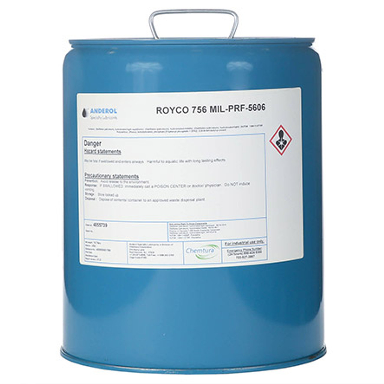 """ROYCO® 756 Red MIL-PRF-5606H Amend. 3 Spec Mineral Oil Based Aircraft Hydraulic Fluid - 5 Gallon Steel Pail - Part#: 4055739by ROYCO® Royco 756 is a red-dyed, mineral oil based hydraulic fluid developed for the severe duty demands of aerospace and industrial service. Royco 756 contains additives that provide excellent low temperature fluidity as well as exceptional anti-wear, oxidation/corrosion inhibition and shear stability. Additionally, metal deactivators and foam inhibitors are provided in this high viscosity index fluid to enhance performance in many general purpose hydraulic applications.     Features and Benefits:    Wide operating temperature range Low temperature fluidity Exceptional anti-wear performance """"Super clean"""" fluid to improve equipment life Excellent oxidation and corrosion inhibition    Applications:  Uses requiring all-weather performance Use in systems where a """"super clean"""" fluid can contribute to improved component life and reliability Use in unpressurized systems operating at temperature ranges from -54 to 90°C (-65 to 195°F) Use in pressurized systems from -54 to 135°C (-65 tp 275°F) at pressures up to 3000 psi Use in systems not requiring the a """"super clean"""" ID Use in systems where the convenience of a re-sealable container can provide cost savings  Approvals and Specifications:  Meets all the requirements and is qualified under MIL-SPEC: MIL-PRF-5606H(3) that supersedes Mil-H-5606G, Mil-O 5606, AN-O-336, AN-VV-O-336 and AAF-3580 Meets the technical requirements of Mil-H-5606A"""