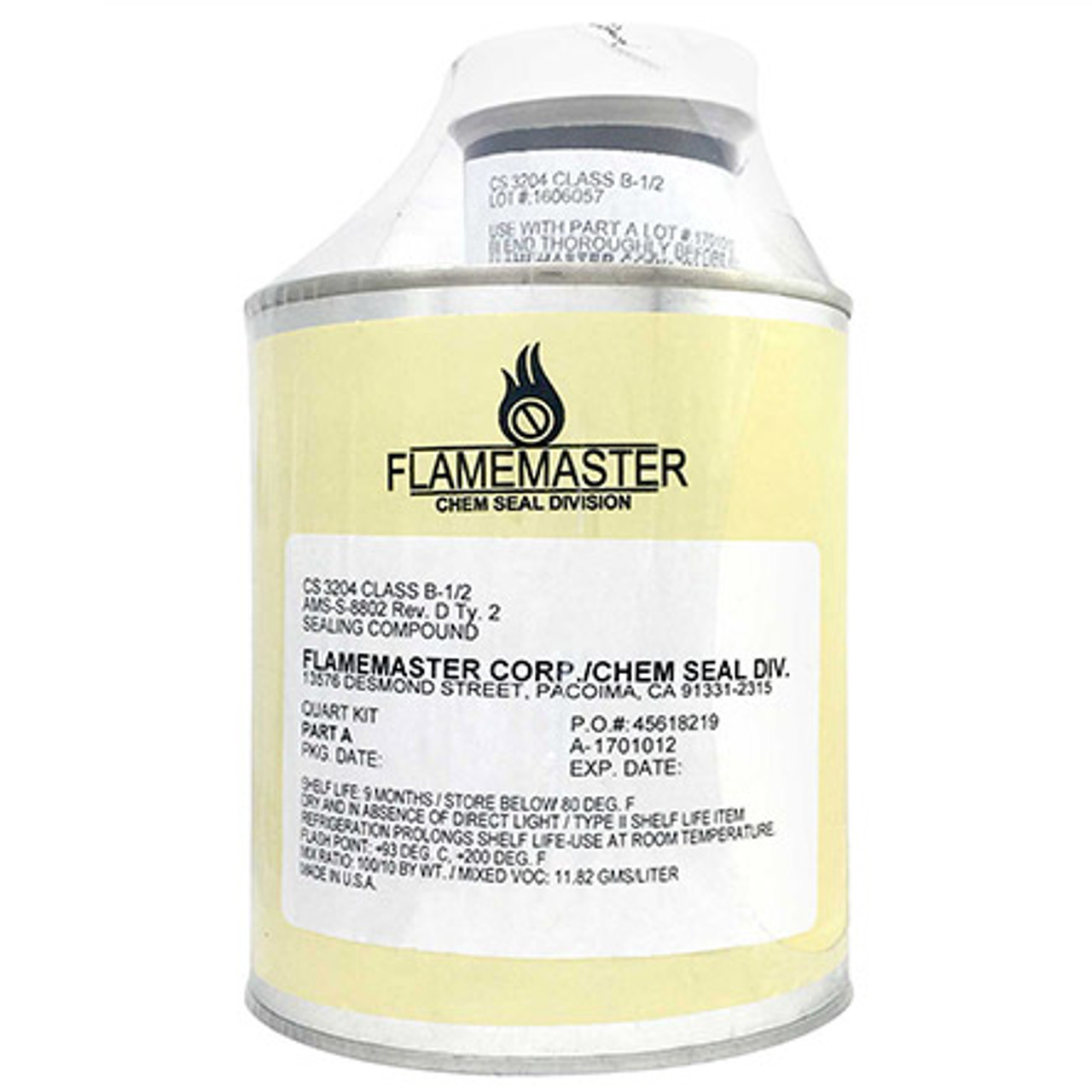 Flamemaster Sealant: A/B,Gry,Qt, / CS3330B2PT  Integral Fuel Tank Sealant - Meets AMS-S-8802, Type II, Class B 1/2 Sealant. Designed to withstand the attck of sulfur compounds present in jet fuels. Also used as a pressurized cabin sealant. Alternates with PR-1440, PS1440, PS-890, and MC-236.Type II, Class A 1/2 Sealant.