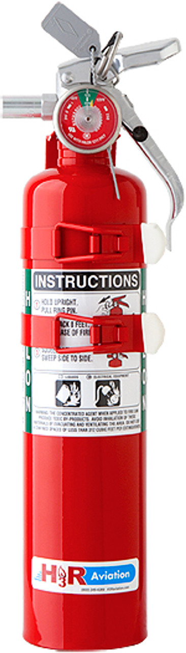 """H3R Aviation Model C352TS Red 2.5 lb UL Rating 5B:C Halon 1211 Cockpit/Cabin Fire Extinguisher - Part#: C352TS by H3R Aviation The C352TS, our most popular Halon 1211 fire extinguisher, can be found on a wide variety of commercial and general aviation aircraft, from Boeings to Cessnas.  Please note: H3R Aviation markets the 2.5 lb. Halon 1211 fire extinguisher model C352 as the """"C352TS."""" The """"TS"""" denotes the fact that the unit is supplied with a two-strap bracket.  Special order Model C352CS is also available—supplied with a modified bracket for Cessna aircraft."""
