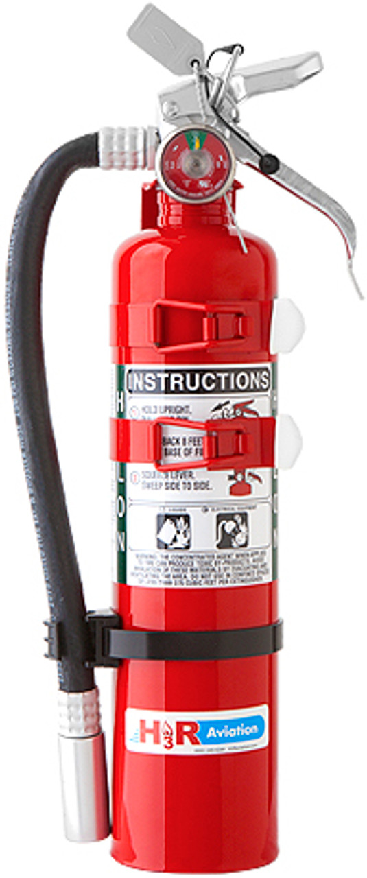 H3R Aviation Model C354TS Red 3.0 lb UL Rating 5B:C Halon 1211 Cockpit/Cabin Fire Extinguisher - Part#: C354TSby H3R Aviation Keep crewmembers and passengers safe with an H3R Model C354TS Halon 1211 Aircraft Fire Extinguisher. The compact fire extinguisher can be wall mounted for easy access in the event of an emergency. The fire extinguishers have a red canister and familiar design that allows users to point, pull and squeeze to dispense a steady stream of Halon 1211. The small fire extinguisher comes with a built-in discharge hose and contains 20 percent more Halon 1211 than the model C352TS, which is the same size and uses the same mounting bracket. Quantity pricing is available on bulk orders.