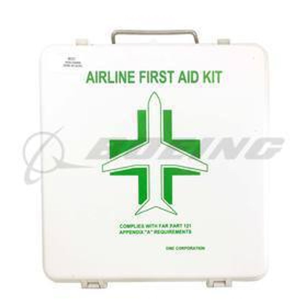 Airline First Aid Kit JAR OPS DME Astronics | S6-01-0005-312 Aircraft First Aid Kits are a requirement on board commercial airline and general aviation aircraft and this aircraft first aid kit complies with JAR OPS requirements. Each lightweight kit is constructed with flame retardant ABS material, double closure latches to assure sealing of the hinged cover and a stainless steel carrying handle. These first aid kits are supplied new and complete with OEM FAA 8130-3.
