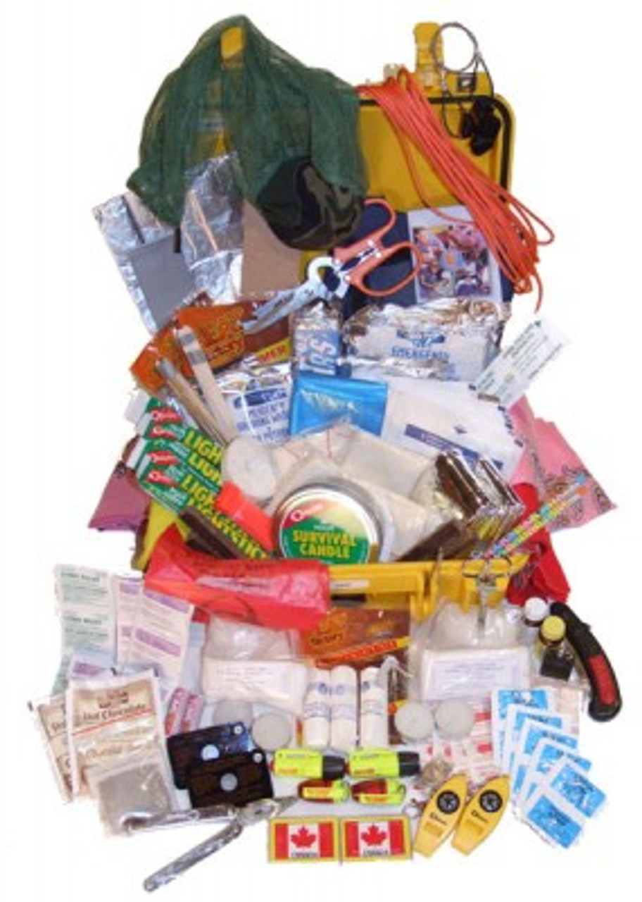 CRASHKIT SURVIVAL KITS 4-7 / PRO KIT 47 The Crashkit 4-7, designed for use in typical GA light aircraft and commercial aircraft, contains the materials necessary to sustain four people for seven days in the event of a crash. The variation of items within the kit allows for multiple options for food, fire, water and shelter; for example, in addition to the Mainstay packaged food, a fishing kit and snare are also included. This kit contains 330 of the most essential items needed in a survival situation, packaged within an indestructible Pelican 1400 case. Every item included in this kit has been thoroughly tested and approved to ensure it performs flawlessly when needed, and meets or exceeds Transport Canada's Canadian Aviation Regulations to facilitate survival and rescue. We've even sharpened the pencil for you! This kit now contains Aquatabs Water Purification and The Spark-Lite Flint and Tinder Kit (The official fire starter for the US Army)