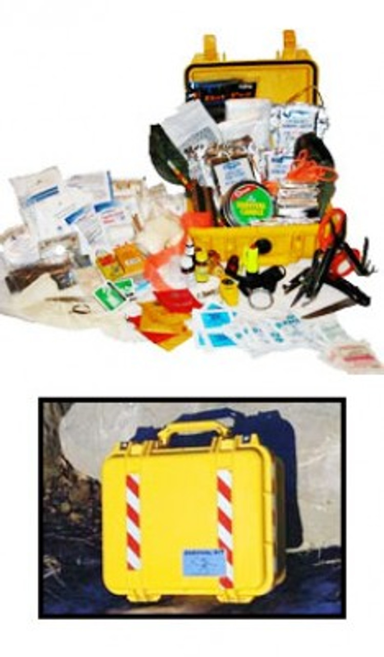 CRASHKIT 6-7 SURVIVAL KIT / PRO KIT 67 Intended for commercial aircrafts, our Crashkit 6-7 has enough materials to sustain six people for seven days in the event of a crash. Various means of food, fire, water and shelter allow for multiple options; for example, this kit includes not only Mainstay water, but the means for purification, as well as hot chocolate or tea. Within this indestructible, crushproof and waterproof Pelican 1450 case, 261 of the most essential items needed in a survival situation are packaged and ready for easy use.  Every item included in this kit has been thoroughly tested and approved to ensure it performs flawlessly when needed, and meets or exceeds Transport Canada's Canadian Aviation Regulations to facilitate survival and rescue.