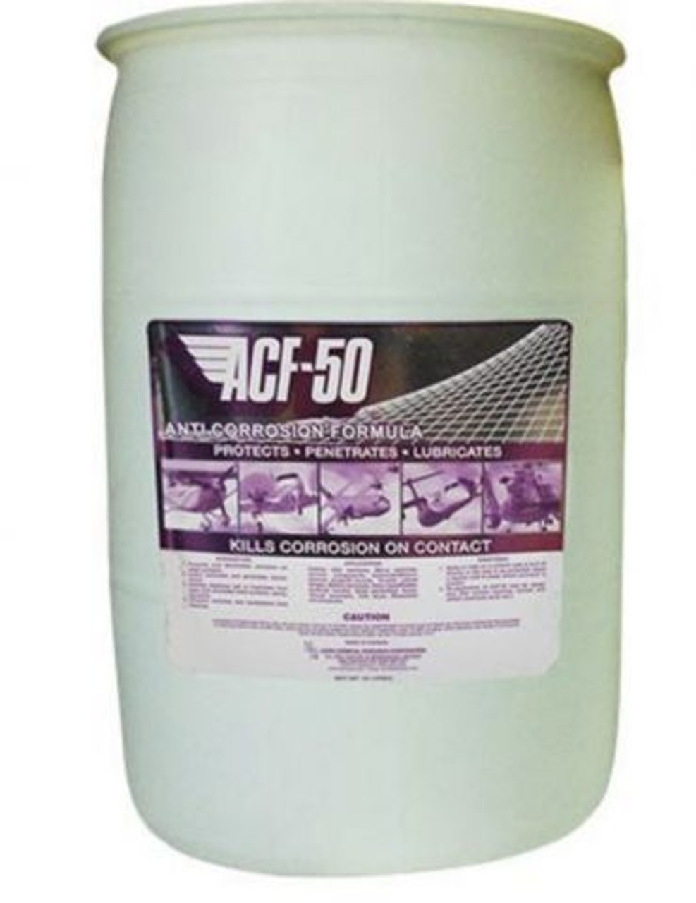 Lear Chemical Research ACF-50® Lubricant Purple 55 GL Drum Part# 10205 by Lear Chemical Lear Chemical Research ACF-50® anti-corrosion lubricant is purple in color and has 90 grams per liter VOC contents that evaporate without leaving any residues or stains. The liquid anti-corrosion lubricant has a flash point of 79.4 degrees C, specific gravity of 0.9 and a boiling point greater than 100 degrees C. This product has a kinematic viscosity of 25 centistokes at 40 degrees C. The anti-corrosion lubricant has an aromatic odor and comes in a 55 GL Drum. It has an auto-ignition temperature rating greater than 210C degrees C.