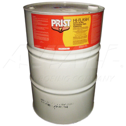Prist® 35737 HI-FLASH HI-FLO Anti-Icing Aviation Fuel Additive - 55 Gallon Drum Part#: 16056156 by Prist® PRIST HI-FLASH Anti-Icing Fuel Additive Safer and easier to handle than conventional anti-icing fuel additives. Prist Hi-Flash anti-icing aviation fuel additive was developed to meet the new demands of the aviation industry. Next generation Hi-Flash additive is less toxic, less volatile and much easier to use than conventional additives.  Why you should use a fuel additive All turbine aircraft fuels contain some dissolved water. It cannot be extracted because it does not exist as particulate water. When an aircraft rises to flight altitude, the fuel cools and its capacity to retain dissolved water is reduced. Some of the dissolved water separates out as discrete water that can form into ice crystals or remain as a supercooled liquid. When supercooled water strikes a tubing bend or a filter, it can freeze quickly and block a fuel line or filter. If suspended ice crystals are present, they can also block a filter. Prist Hi-Flash anti-icing aviation fuel additive controls icing in aircraft fuel by depressing the freezing point of water.