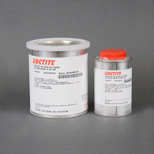Henkel 1342441 LOCTITE® Hysol® EA 9396™ AERO Low Viscosity Wet Lay-Up Epoxy Adhesive - Quart Kit / Part#: 1342441by LOCTITE® Hysol EA 9396 is a low viscosity, room temperature curing adhesive system with excellent strength properties at temperatures from -67°F to 350°F (-55°C to 177°C). Hysol EA 9396 has a shelf life of one year when stored @ 77°F/25°C for separate components. Qualified to MMM-A-132, Rev A, Type 1, Class 3. Pilatus PN/Spec#: 910.42.72.170 Pratt & Whitney PN/Spec#: PWA457-4