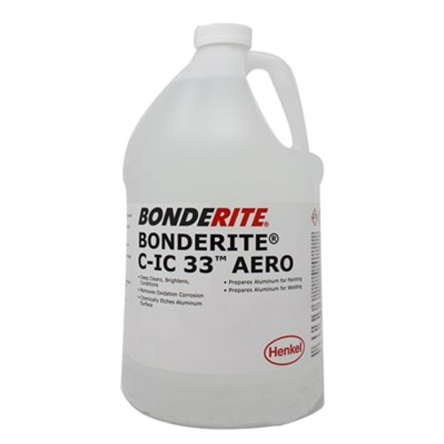 Henkel 594015 BONDERITE® C-IC 33™ AERO Metal Preparation Chemical - Gallon Jug Part#: 594015by BONDERITE®   Cleaning is an aircraft maintenance necessity, increasing safety and performance. BONDERITE C-IC 33 Aero (formerly Alumiprep 33) is an aircraft-approved product that treats aluminum safely. This phosphoric acid based cleanser is non-flammable! Use BONDERITE C-IC 33 to clean, brighten and prepare your aluminum for painting. Be sure to invest in flight-safe cleaning tools that have been tested by professionals. Its anti-corrosion and chemically clean finish leaves your aluminum bright and spotless. Be sure to clean your aircraft without damaging its aluminum body. BONDERITE C-IC 33 is offered in a one-quart container, perfect for a full-airplane clean, or stock up for years of sparkling aluminum. The Alumiprep 33 quart is a great addition to any aircraft maintenance toolset. Resist corrosion, protect your aircraft against rust and prepare its surface for painting with Turco 594416.