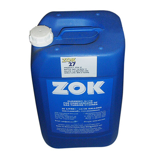 ZOK 27 Concentrate Yellow MIL-PRF-85704C Spec Gas Turbine Compressor Cleaning Fluid - 25 Liter (6.6 Gallon) Pail - Part#: ZOK27 by ZOK ZOK 27 is a concentrated, neutral, environmentally friendly, biodegradable, waterbased detergent cleaning fluid for cleaning and corrosion inhibition of gas turbine compressors. One operation cleans and protects the engine – and also inhibits corrosion. Composition Blend of non-ionic surfactants, corrosion inhibitors, organic solvents and demineralised water. Appearance Clear pale straw coloured liquid with a mild pleasant odour. Solubility Completely soluble in water. No agitation required. Compatibility Not corrosive or detrimental to any of the materials normally used in gas turbine engines or aircraft components. No adverse effect on synthetic turbine oils. Approvals/References/Specification General Services Specification: DU32149 Pratt & Whitney Canada Specification: PWC11-003D US Military Specification: MIL-PRF-85704C DEF STAN - British Spec#: 79-18 Pratt & Whitney PN/Spec#: PWC11-003D Rolls Royce PN/Spec #: MSRR 9914
