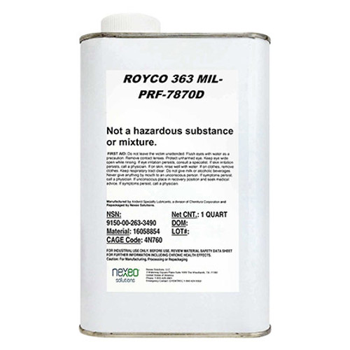 ROYCO® 363 Yellow MIL-PRF-7870 Spec General Purpose Low Temperature Oil - Quart Can Part#: 16058854by ROYCO® ROYCO 363 is a highly refined mineral oil based lubricant formulated with modern additives to provide oxidation  and corrosion protection, low temperature fluidity, rust inhibition, and good resistance to evaporation. ROYCO 363 is recommended for the general-purpose lubrication of instrument and airframe components including