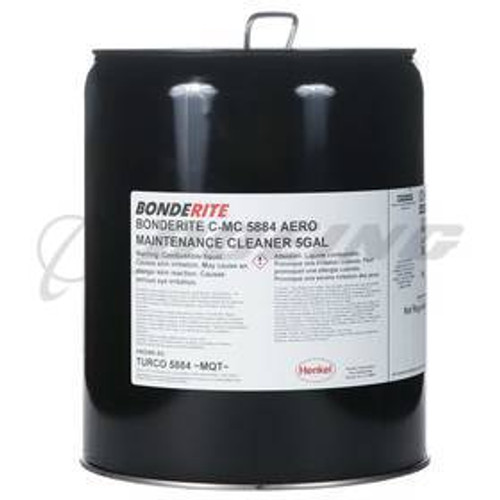 Henkel 597177 BONDERITE C-MC 5884 Aero Turbine Engine Compressor Cleaner - 5 Gallon Pail - Part#: 597177by Turco formerly TURCO 5884) is a concentrated liquid cleaner which is effective in the removal of oil, salt and solid deposits from compressor blades, guide vanes and rotors of in-service jet engines. Periodic cleaning of these components is necessary to avoid power loss, abnormal temperature increases and increased fuel consumption. Meets MIL-C-85704C Type I.
