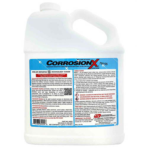 CorrosionX® Aviation 84004 Clear MIL-PRF-81309F Type II, Class II Spec Aviation Corrosion Inhibitor - Gallon Jug - Part#: 84004by CorrosionX® Aviation.- CorrosionX® Aviation Series corrosion inhibitor is greenish brown in color and features polar bonding technology for better lubrication, creeping and faster penetration. The liquid corrosion inhibitor has a vapor pressure less than 0.05 millimeters Hg at 20 degrees C and 0.04 VOC contents that evaporate without leaving any residues or stains. It has a flash point of 143 degrees C, specific gravity of 0.895 at 15.6 degrees C and a boiling point greater than 421 degrees F. This corrosion inhibitor has a viscosity of 33.2 centistokes at 40 degrees C and 7 centistokes at 100 degrees C. It has a fresh scent odor and comes in a 1-gallon container. This product has a pour point of -30 degrees C.