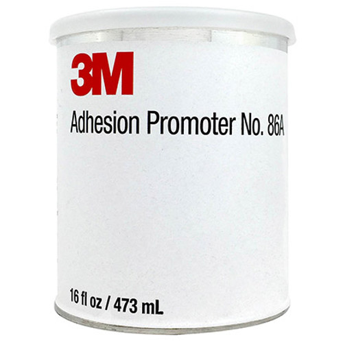 """3M Adhesion Promoter 86A Transparent Pint / 50021200315928 This liquid """"primer"""" is designed for use with 3M Polyurethane Protective Tapes and Boots as well as other acrylic adhesives. 3M 86A enhances initial adhesion to certain types of surfaces, such as polyurethane paint, epoxy primers, or epoxy composites. It is not intended for use where acrylic adhesive would be in direct contact with aluminum, stainless steel, carbon, steel or glass. Approvals/References/Specs  Hartzell Propeller PN: A-6741-124 Hartzell PN/Spec#: A-6741-124"""