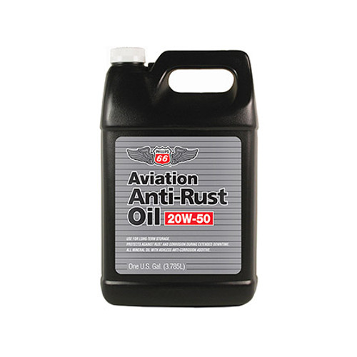 "Phillips 66® Aviation 20W-50 Aviation Anti-Rust Oil - Gallon (3.785 Liter) Jug Part#: 1045910by Phillips Aviation Antirust Oil is formulated to help preserve aircraft piston engines during periods of inactivity. This type of oil is sometimes referred to as ""pickling,"" piston engines. Airframe manufacturers have used it for many years as ?Fly Away Oil? for new aircrafts. Aviation Antirust Oil is engineered to help prevent rust and corrosion in aircraft engines expected to sit idle for extended periods. Typical uses would be for wintertime storage or rebuilt engines not placed in service right away. The product may also be used as a limited time break-in oil not to exceed 10 hours during normal use."