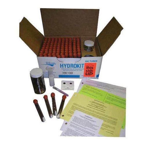 """HK25-15 Parker Hydrokit / HK25-15 The HYDROKIT is an effective """"Go, No-Go"""" field test designed to periodically check for free water, which is removed to ppm levels by properly operating filter/ separators, Aquacon, and monitor vessels. Samples are normally taken downstream of the vessel, but they can also be taken at other points in the fuel distribution system. The HYDROKIT is designed to indicate free water in excess of 30* ppm by changing the powder contained in the sample tube to a pink color. Thirty ppm is generally accepted as the maximum amount of water permissible when fueling aircraft. The HYDROKIT is designed for """"fail-safe"""" operation, with false negative readings unlikely. Almost any error in performing the test will indicate the presence of wet fuel. If the sample indicates the presence of excessive water, it is always a good practice to repeat the test on a second sample."""