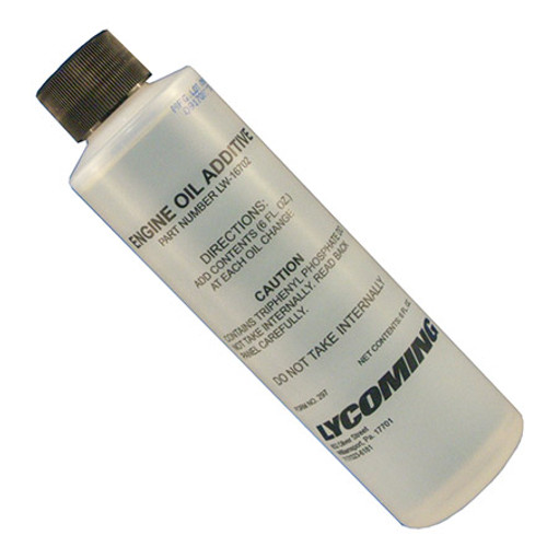 Lycoming LW-16702 Engine Oil Additive - 6 oz Bottle - Part#: LW16702by Lycoming Textron Lycoming LW-16702 oil additive contains an anti-scuffing agent and can dramatically reduce engine wear. This additive is applicable to all Textron Lycoming piston aircraft engines, and factory recommends use at every oil change or every 50 hours, whichever occurs first. For 6-8 qt. sump, use one 6 oz. can, for 12-15 qt. sump, use two 6 oz. cans, for 17-19 qt. sump, use three 6 oz. cans, for 23 qt. sump, use four 6 oz. cans.