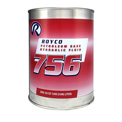 ROYCO® 756 Red MIL-PRF-5606H Amend. 3 Spec Mineral Oil Based Aircraft Hydraulic Fluid - Gallon Can - Part#:  4055741 by ROYCO® ROYCO 756 is a red-dyed, mineral oil based hydraulic fluid developed for the severe duty demands of aerospace and industrial service. ROYCO 756 contains additives that provide excellent low temperature fluidity as well as exceptional anti-wear, oxidation / corrosion inhibition, and shear stability. In addition, metal deactivators and foam inhibitors are provided in this high viscosity index fluid to enhance performance in many general purpose hydraulic applications.  Approvals/References/Specs:  US Military Specification: MIL-H-5606A US Military Specification: MIL-H-5606G US Military Specification: MIL-O-5606 US Military Specification: MIL-PRF-5606H US Military Specification: AN-O-336 US Military Specification: AN-VV-O-336 US Military Specification: AAF-3580 Alternate PN#s: ROYCO 756