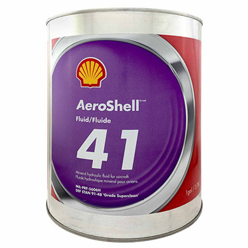 """AeroShell™ Fluid 41 Mineral Aircraft Hydraulic Fluid - Gallon Can - Part#: 550043667 by AeroShell™ AeroShell Fluid 41 is a mineral hydraulic oil manufactured to a very high level of cleanliness, and possesses improved fluid properties. AeroShell Fluid 41 contains additives which provide excellent low temperature fluidity as well as exceptional anti-wear, oxidation - corrosion inhibition and shear stability. In addition metal de-activators and foam inhibitors are included in this high viscosity index fluid to enhance performance in hydraulic applications. AeroShell Fluid 41 is capable of wide temperature range operation. AeroShell Fluid 41 is dyed red.  AeroShell Fluid 41 is intended as a hydraulic fluid in all modern aircraft applications requiring a mineral hydraulic fluid. AeroShell Fluid 41 is particularly recommended where use of a """"superclean"""" fluid can contribute to improvements in component reliability, and can be used in aircraft systems operating unpressurised between –54°C to 90°C and pressurised between –54°C to 135°C.  AeroShell Fluid 41 should be used in systems with synthetic rubber components and must not be used in systems incorporating natural rubber. Refer to the General Notes at the front of this section for further information.  AeroShell Fluid 41 is compatible with AeroShell Fluids 4, 31, 51, 61 and 71 and SSF/LGF.  Chlorinated solvents should not be used for cleaning hydraulic components which use AeroShell Fluid 41. The residual solvent contaminates the hydraulic fluid and may lead to corrosion.  Approvals/References/Specification  British Specification: approved DEF STAN 91-48 Grade Superclean French Specification: approved DCSEA 415/A Joint Service Designation Specification: OM-15 (equivalent OM-18) NATO Specification: H-515 (equivalent H-520) Russian Specification: analogue to AMG-10 US Military Specification: MIL-PRF-5606H DEF STAN - British Spec#: DEF STAN 91-48 Grade Superclean JSSG / JSD Spec#: OM-15 NATO Stock #: H-515"""