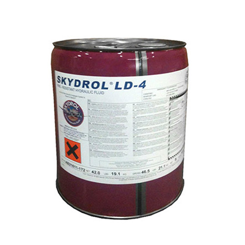 Eastman™ Skydrol® LD-4 Purple BMS3-11P, Type V, Grade B & C Spec Fire Resistant Hydraulic Fluid | 5 GAL Pail Part# P3410204by Eastman™ Keep your aircraft's hydraulic systems ready for flight with Skydrol LD-4. The specially-designed low-density hydraulic fluid provides reduced weight without compromising system performance. Your aircraft's hydraulic systems must be properly maintained in order to fly. Each hydraulic system requires hydraulic fluid to function. Skydrol LD-4 can save large fleet operators thousands in fuel costs due to its lower weight. This fluid remains the industry standard for hydraulic systems. Feel the difference during your next flight with LD-4. Our five-gallon container offers superior thermal stability. Its deposit control prevents buildup from affecting performance during flight. Prevent valve erosion and damage from extreme heat in your hydraulic system with Skydrol LD-4. Our five-gallon canister will service your aircraft effectively. Our Geeks have hand-selected Skydrol LD-4 as the industry standard among Type IV fluids. Use this clear, oily liquid for fuel savings and improved hydraulic performance. Find LD-4 and other Skydrol products for your aircraft at SkyGeek.  Airbus PN/Spec#: NSA 307110 Boeing M.D. PN/Spec#: DMS 2014H R-1 Boeing PN/Spec#: BMS3-11P, Type V, Grade B, Grade C Bombardier PN/Spec#: BAMS 564-003 Revision A Gulfstream PN/Spec#: 1159SCH302J CMS-OL-103C SAE Spec#: AS1241