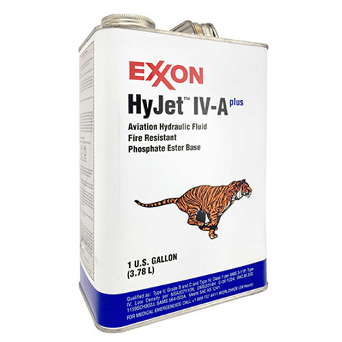 Exxon Mobil HyJet IV-A Plus Violet BMS 3-11P Type V, Grade B/C, Type IV, Class 1 Spec Hydraulic Fluid - Gallon Can - Part#: 110416by Exxon Mobil Exxon HyJet IV-Aplus is a fire-resistant phosphate ester hydraulic fluid designed for use in commercial aircraft. It is the best-performing Type IV fluid and approaches to a great extent many of the performance capabilities of Type V fluids, including high temperature stability, fluid life, low density, and rust protection. It is superior to all other Type IV fluids in these respects. Exxon HyJet IV-A plus meets the specifications of all major aircraft manufacturers and SAE AS1241. Airbus PN/Spec#: NSA 307110N Boeing M.D. PN/Spec#: DMS 2014H Boeing PN/Spec#: BMS 3-11P Type V, Grade B & C, Type IV, Class 1 Bombardier PN/Spec#: BAMS 563-003A SAE Spec#: AS1241C