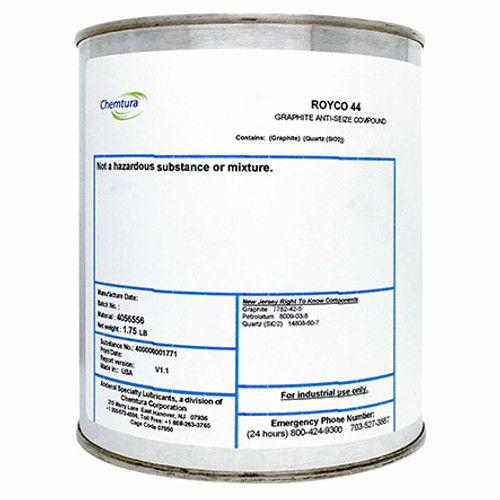 ROYCO® 44 Black MIL-T-5544C/AMS-2518B Spec Graphite & Technical Petrolatum Anti-Seize Compound - 1.75 lb Can - Part#: 4056556by ROYCO® Prevent your aircraft's important components from seizing up by treating them with ROYCO 44 Anti-Seize Compound . The compound meets MIL-PRF-5544C specifications and features a unique blend of graphite and technical petrolatum to help prevent threads from locking in place. The heavy-duty anti-seize compound was specially developed for use on aircraft engine spark plugs, igniters, and threaded fasteners and fittings, allowing them to be removed as necessary for maintenance and replacement. These specific components are subjected to a high degree of heat and are more likely to seize. ROYCO 44 has a consistency similar to modeling clay and is black in color, making it easy to recognize and to manipulate.  Please note that due to the graphite used in the formulation of ROYCO 44, this material should not be used in places where it may come in contact with aluminum, magnesium, cadmium, or zinc alloys and platings. Because ROYCO 44 conducts electricity readily, the mating of dissimilar alloys, which may create an electrical potential, should be avoided.  ROYCO 44 meets the requirements and is qualified to the latest revision level of SAE-AMS-2518, which supersedes and replaces MIL-SPEC: MIL-T-5544.  NLGI Spec#: ZX-1 Pilatus PN/Spec#: 908.20.02.102 SAE Spec#: AMS-2518B
