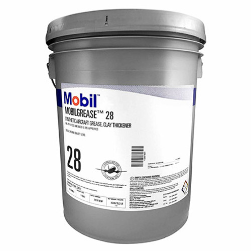 Exxon Mobil Mobilgrease 28 Red MIL-PRF-81322G Spec Synthetic Aviation Grease - 16 Kg (35 lb) Pail - Part#: 112687by Exxon Mobil Mobilgrease 28 is a supreme performance, wide-temperature, antiwear grease designed to combine the unique features of a polyalphaolefin (PAO) synthetic base fluid with an organo-clay (non-soap) thickener. Its consistency is between an NLGI No. 1 and No. 2 grease. It offers outstanding performance over a wide temperature range. The wax-free nature of the synthetic base fluid, together with its high viscosity index compared to mineral oils, provide excellent low temperature pumpability, very low starting and running torque, and can help reduce operating temperatures in the load zone of rolling element bearings. The clay thickener gives Mobilgrease 28 a high dropping point value of around 300ºC, which provides excellent stability at high temperatures. Mobilgrease 28 resists water washing, provides superior load-carrying ability, reduces frictional drag, and prevents excessive wear. Tests show that Mobilgrease 28 lubricates effectively rolling element bearings under conditions of high speeds and temperatures. Mobilgrease 28 has also shown excellent ability to lubricate heavily loaded sliding mechanisms, such as wing flap screw jacks.  For more than 30 years, Mobilgrease 28 has been the multi-purpose grease of choice for military and related aviation applications, worldwide.  A particular requirement of aviation greases is the need to resist high temperature stresses, while providing excellent starting and low torque at low-temperature. To meet this combination of needs ExxonMobil product formulation scientists chose synthetic hydrocarbon base oils for Mobilgrease 28 because of their low volatility, exceptional thermal/oxidative resistance, and superb low-temperature capability. Formulators chose specific thickener chemistry and a proprietary additive combination which helps maximize the benefits of the synthetic base oils.  Mobilgrease 28 meets
