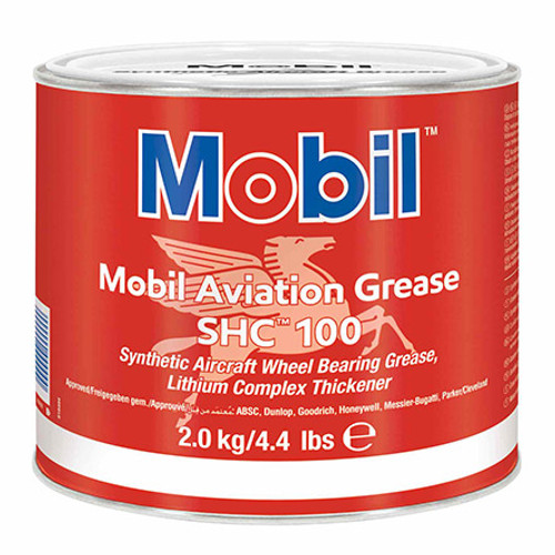 Exxon Mobil SHC 100 Synthetic Aviation Grease - 4 cans 4* 4.4 lb each - Part#: 110152 by Exxon Mobil Mobil Aviation Grease SHC 100 is a supreme performance synthetic grease which combines the unique features of a polyalphaolefin (PAO) synthetic base fluid with those of a high quality lithium complex soap thickener. The thickener system provides a high dropping point, excellent resistance to water wash, and a tenacious structural stability. The unique physical properties of the synthetic base oil, combined with selected additives, provide outstanding protection against wear, rust, corrosion, and high temperature degradation. The wax-free feature of the synthetic base oil allows for low-temperature mobility/pumpability and low starting and running torque values. Mobil Aviation Grease SHC 100 is the product of choice for aircraft wheel bearing applications. Pilatus PN/Spec#: 908.20.02.066