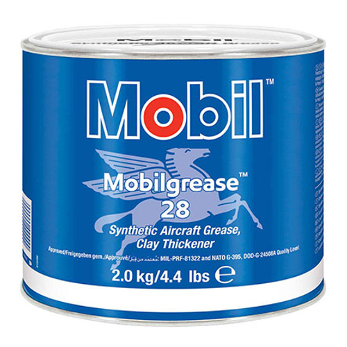 Exxon Mobil Mobilgrease 28 Red MIL-PRF-81322G Spec Synthetic Aviation Grease - 2 Kg (4.4 lb) Can - Part#: 103272by Exxon Mobil Mobil grease 28 is a supreme performance, wide-temperature, antiwear grease designed to combine the unique features of a polyalphaolefin (PAO) synthetic base fluid with an organo-clay (non-soap) thickener. Its consistency is between an NLGI No. 1 and No. 2 grease. It offers outstanding performance over a wide temperature range. The wax-free nature of the synthetic base fluid, together with its high viscosity index compared to mineral oils, provide excellent low temperature pumpability, very low starting and running torque, and can help reduce operating temperatures in the load zone of rolling element bearings. The clay thickener gives Mobil grease 28 a high dropping point value of around 300°C, which provides excellent stability at high temperatures. Mobil grease 28 resists water washing, provides superior load-carrying ability, reduces frictional drag, and prevents excessive wear. Tests show that Mobil grease 28 lubricates effectively rolling element bearings under conditions of high speeds and temperatures. Mobil grease 28 has also shown excellent ability to lubricate heavily loaded sliding mechanisms, such as wing flap screw jacks.  For more than 30 years, Mobil grease 28 has been the multi-purpose grease of choice for military and related aviation applications, worldwide.  A particular requirement of aviation greases is the need to resist high temperature stresses, while providing excellent starting and low torque at low-temperature. To meet this combination of needs ExxonMobil product formulation scientists chose synthetic hydrocarbon base oils for Mobil grease 28 because of their low volatility, exceptional thermal/oxidative resistance, and superb low-temperature capability. Formulators chose specific thickener chemistry and a proprietary additive combination which helps maximize the benefits of the synthetic base oils.  Mobil grease 2