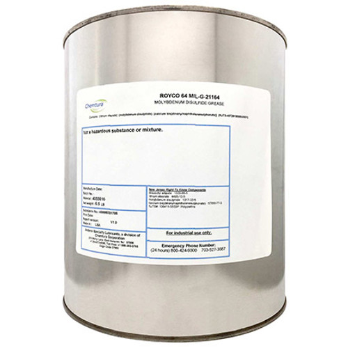 ROYCO® 64 Dark Gray MIL-G-21164 Spec High Load Synthetic Grease - 6.5 lb Can Part#: 4055616 by ROYCO®  ROYCO 64 is a lithium 12 hydroxy stearate thickened grease formulated with microfine molybdenum disulfide and a thermally stable ester based synthetic oil. Modem additives are utilized to provide high load carrying, rust and oxidation protection, EP performance, and shear stability. Microfine particles of moly adhere and penetrate metal surfaces thereby providing lubrication and antiseize protection even when the oil component is removed or there is a possibility of inadequate lubrication clue to mechanical spreadout of.the lubricant. ROYCO 64 meets all requirements of MIL-G-21164D.